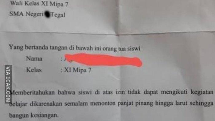surat izin tak masuk sekolah viral